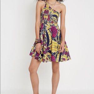 UO Dahlia Asymmetrical Smocked Mini Dress XS /i